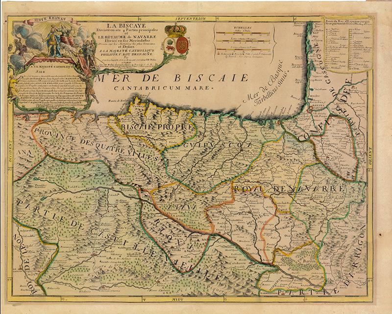 """""""La Biscaye divisée en ses 4 parties principales et le Royaume de Navarre divisé en ses Merindades"""""""