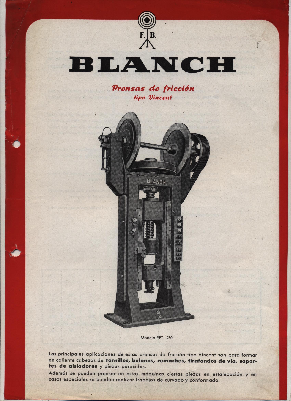 """""""BLANCH"""" PRENSA A HUSILLO CON VOLANTE DE FRICCIÓN"""