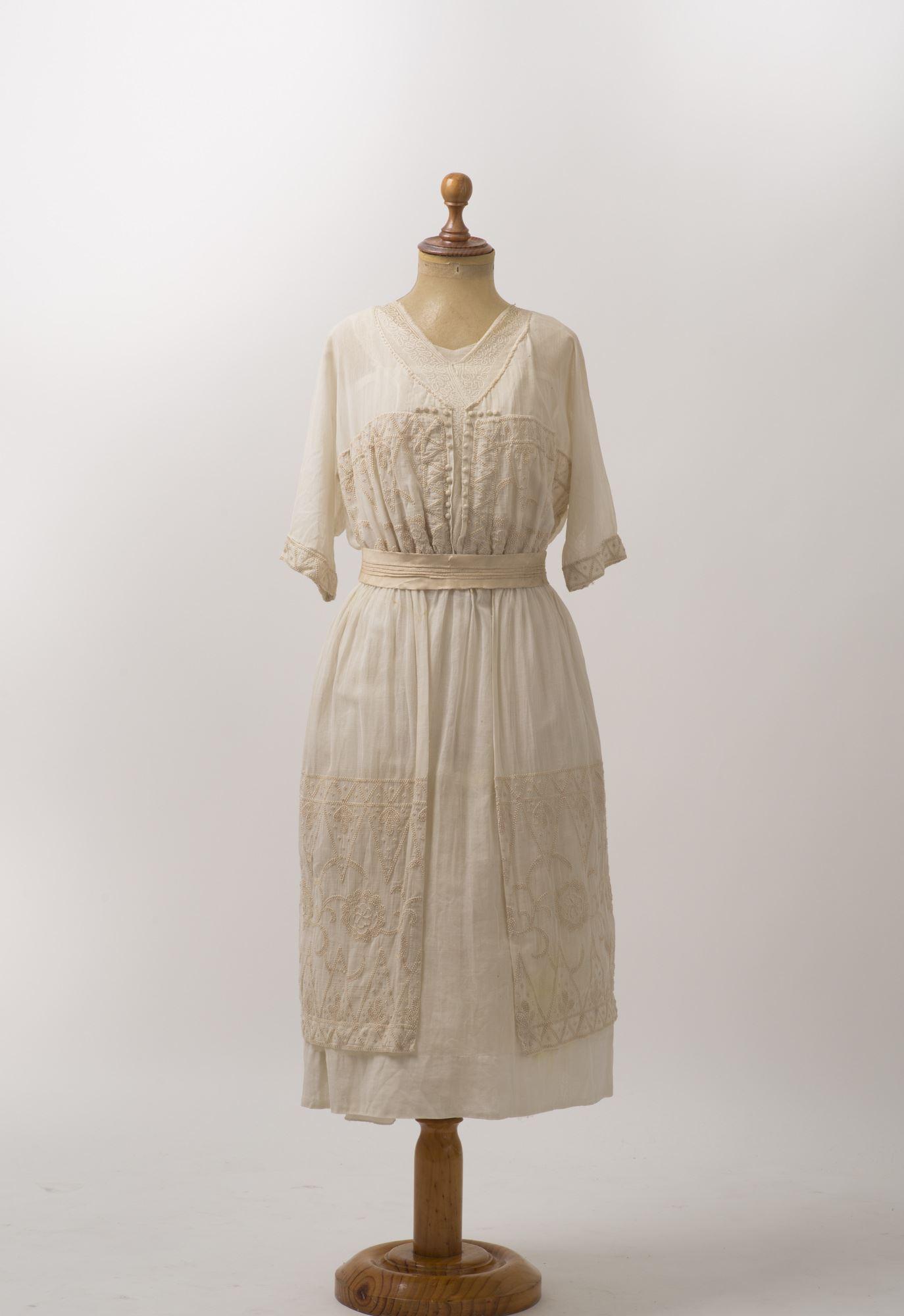 Vestido de verano de gasa de algodón color crudo