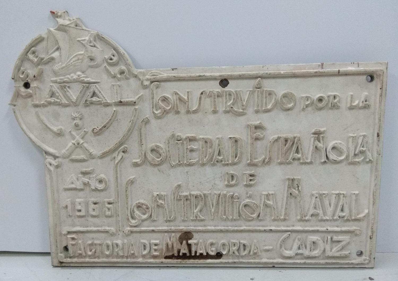 Placa de la Sociedad Española de Construcción Naval Matagorda