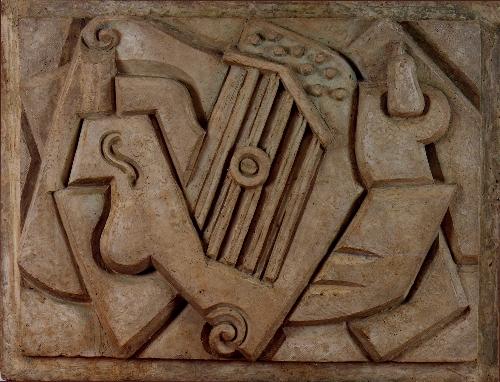 Musical Instruments with Basket of Fruit and Grapes (Instrumentos musicales con cesta de fruta y uvas)