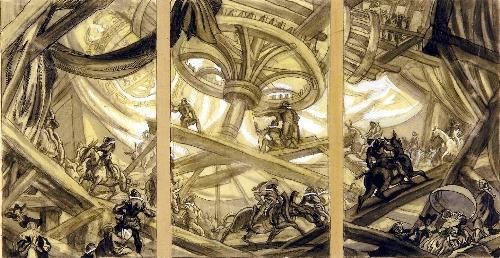 Proyecto de pinturas murales para el techo del hall de la Fábrica Nacional de la Moneda y Timbre (Madrid)