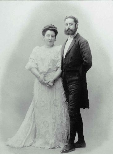 Retrato de boda de Ricardo Augustin y Elvira Zulueta