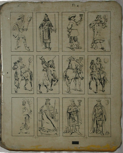 Piedra litográfica de 12 cartas de la baraja de 1888