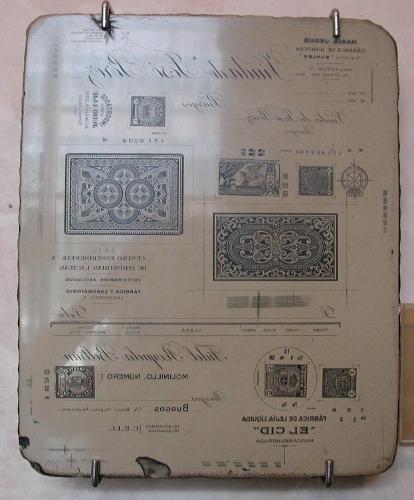 Piedra litográfica. Barajas, sellos y publicidad varia