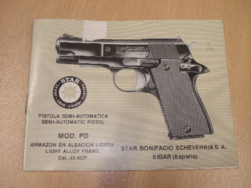 Manual de instrucciones de la pistola semiautomática STAR Mod. PD