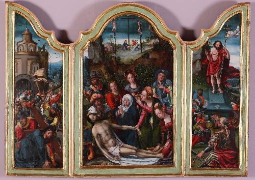 Tríptico del Llanto sobre Cristo Muerto, Caída camino al Calvario y Resurrección