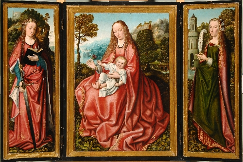 Tríptico de la Virgen con el Niño, Santa Catalina y Santa Bárbara
