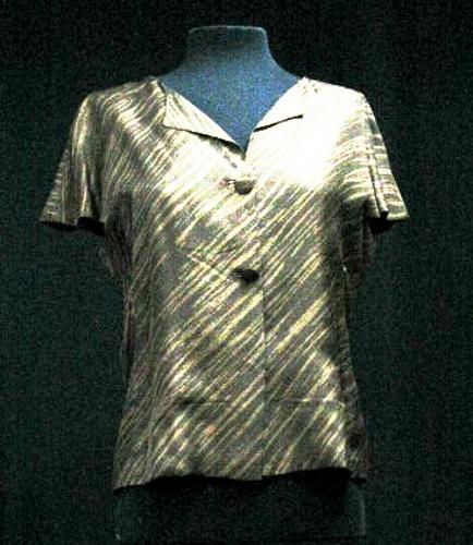 Blusa de tul de seda natural color bronce estampado de una sola pieza