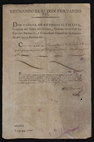 Pasaporte emitido por Gabriel Mendizábal