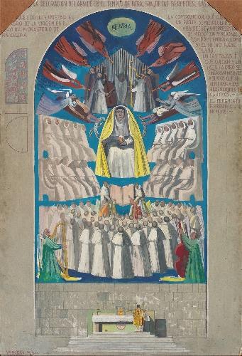 Boceto de la pintura del ábside de la iglesia de Las Mercedes
