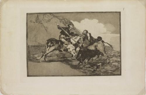 [Modo como los antiguos españoles cazaban los toros á caballo en el campo.]
