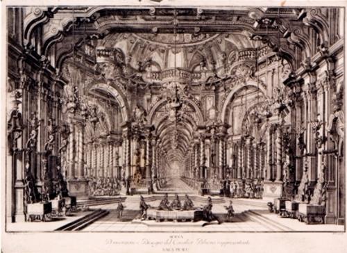 Scena D'Invenzione del Cavalier Bibiena rappresentante Sala Reale