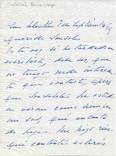 Carta de Cristóbal Balenciaga a Sonsoles de Icaza, 1969