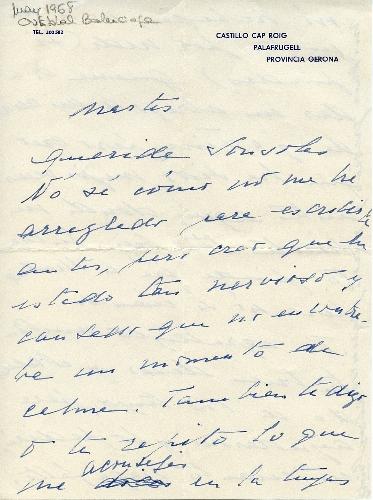 Carta de Cristóbal Balenciaga a Sonsoles de Icaza, 1968