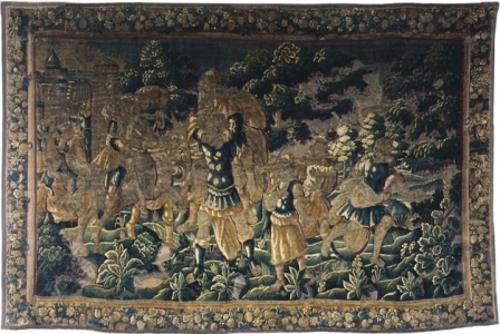 Huida de Eneas de Troya con su padre Anquises y Ascanio
