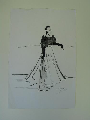 Ilustración copia de una ilustración de Keogh con un modelo de Balenciaga