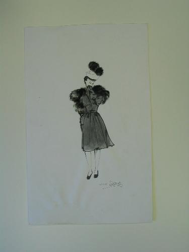 Ilustración copia de una ilustración de Mourgue con un modelo de Balenciaga