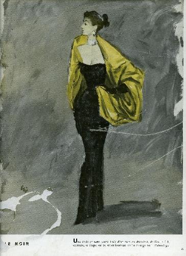 Expositor publicitario con página de revista con ilustración de Eric Bass con modelo de Balenciaga