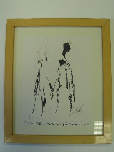 """Boceto de Tod Draz """"Hommage a Balenciaga"""" enmarcado"""