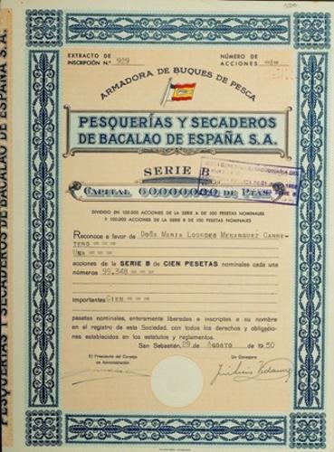 Acción de Pysbe (Pesquerías y Secaderos de Bacalao de España S.A.)