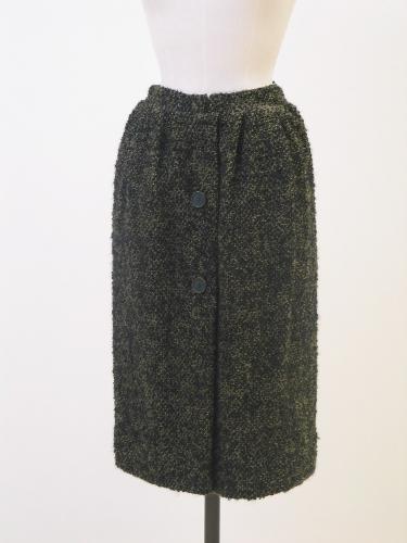 Falda en lana boucle negro y verde