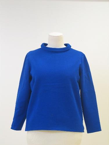 Polo túnica en sarga de punto azul cobalto .