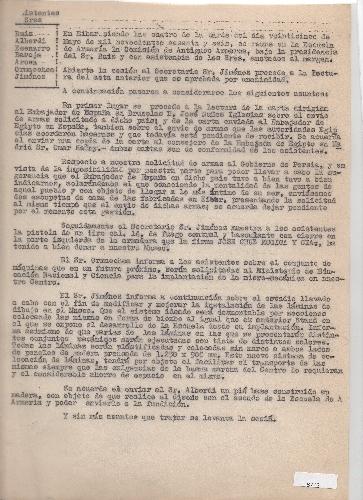 Original y copia del acta de reunión de la comisión de Antiguos Armeros