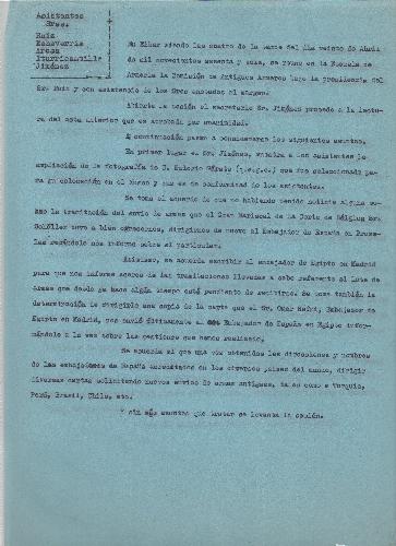 Copia del acta de reunión de la comisión de Antiguos Armeros