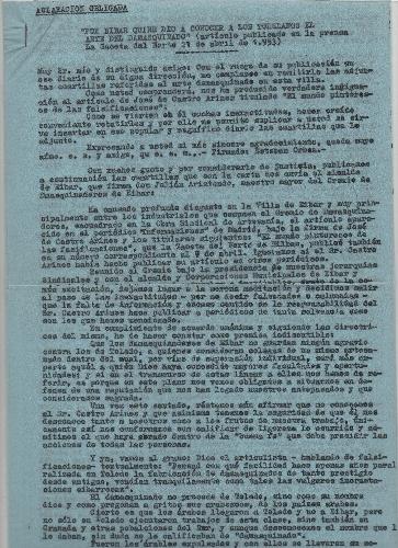 """Carta de aclaración en relación al artículo """"El mundo pintoresco de las falsificaciones"""""""