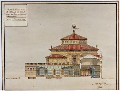 Proyecto definitivo de la estación de Achuri para los Ferrocarriles Vascongados. Sección Trasversal