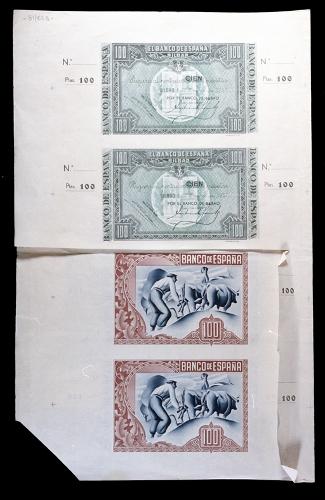 Pliego de impresión de billetes de 100 pesetas