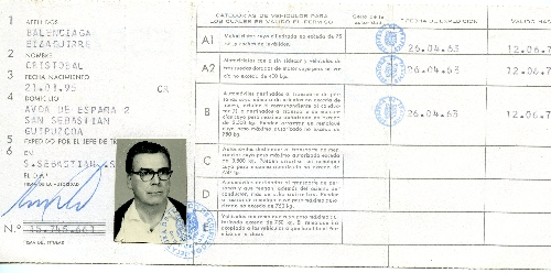 Permiso de circulación de Cristobal Balenciaga.