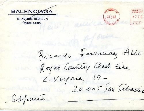 Carta de Marie Andree Jouve a Ricardo Fdez. Aller.
