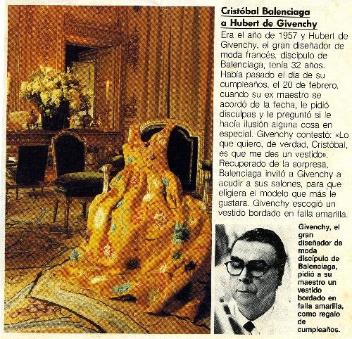 Artículo de prensa sobre Cristobal Balenciaga y su discípulo Hubert de Givenchy