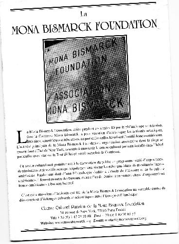 Libreto de la Fundación Mona Bismarck