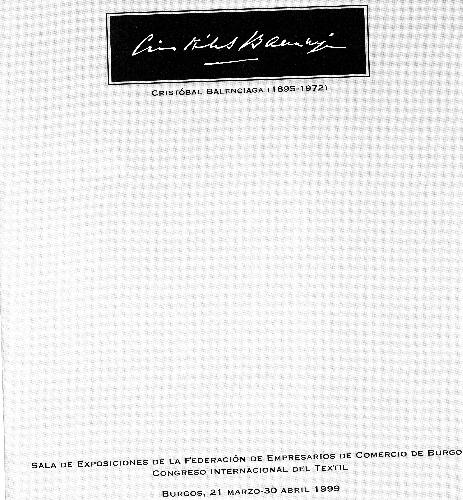 Dossier de presentación de la exposición que tuvo lugar en Burgos sobre la figura de Cristóbal Balenciaga