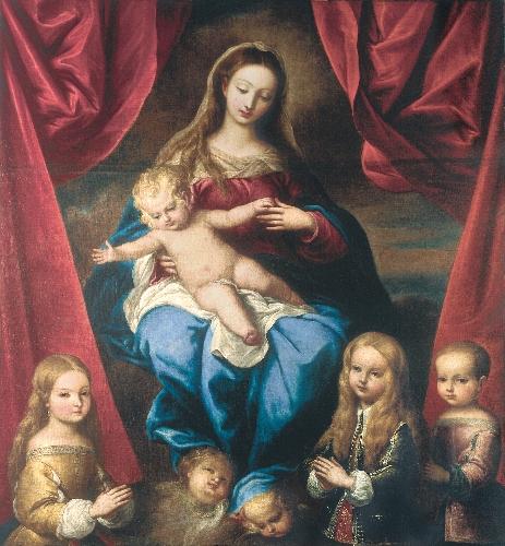 Virgen con el Niño y retratos
