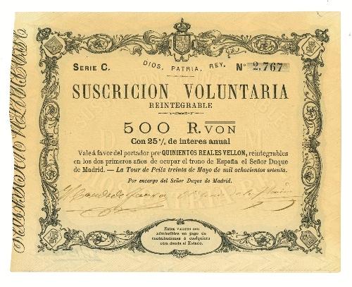 Vale carlista de 500 reales de vellón