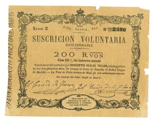 Vale carlista de 200 reales de vellón