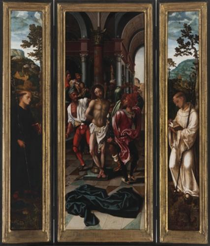 Tríptico de la Flagelación con San Benito y San Bernardo