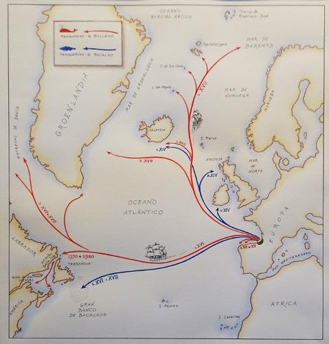 """""""Mapa de caladeros históricos. Ballena y Bacalao"""""""