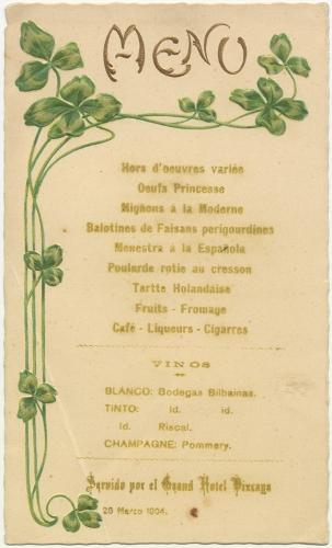 Menú del Gran Hotel Vizcaya