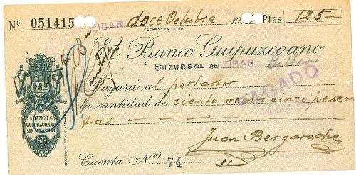 Talón del Banco Guipuzcoano