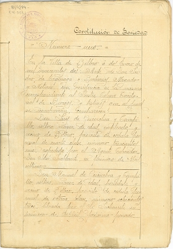 Escritura de constitución de la Sociedad Anónima del periódico El Nervión