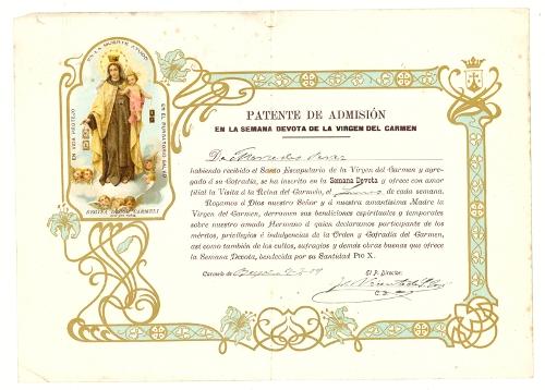 Patente de admisión en la Semana Devota de la Virgen del Carmen
