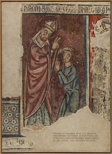 San Ermengol exorcizando a un endemoniado