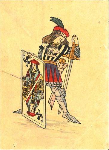 Sota de espadas con valet de trébol