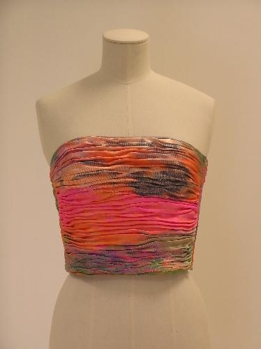 Cuerpo-corpiño en seda estampada multicolor