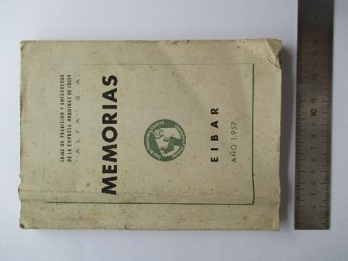MEMORIA DE LA CAJA DE PREVISIÓN Y ENFERMEDAD DE LA EMPRESA DE MÁQUINAS DE COSER ALFA S.A.. AÑO 1957